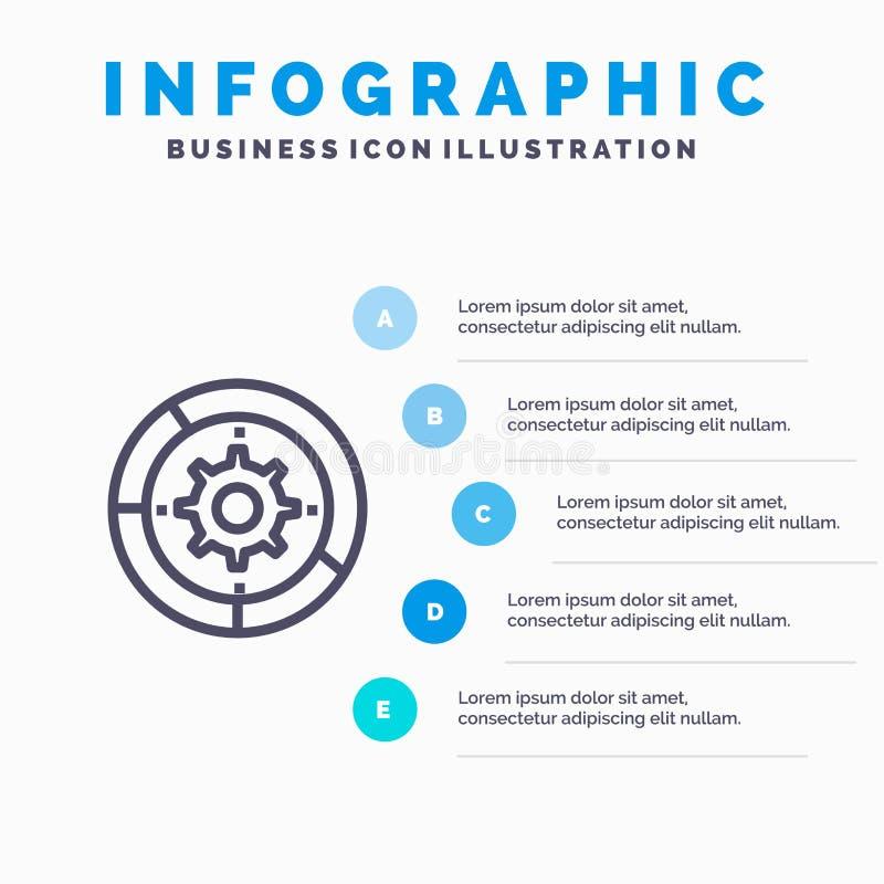 Toestel, Montages, Opstelling, Motor, het pictogram van de Proceslijn met infographicsachtergrond van de 5 stappenpresentatie stock illustratie