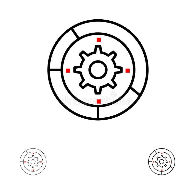 Toestel, Montages, Opstelling, Motor, het pictogramreeks van de Proces Gewaagde en dunne zwarte lijn royalty-vrije illustratie