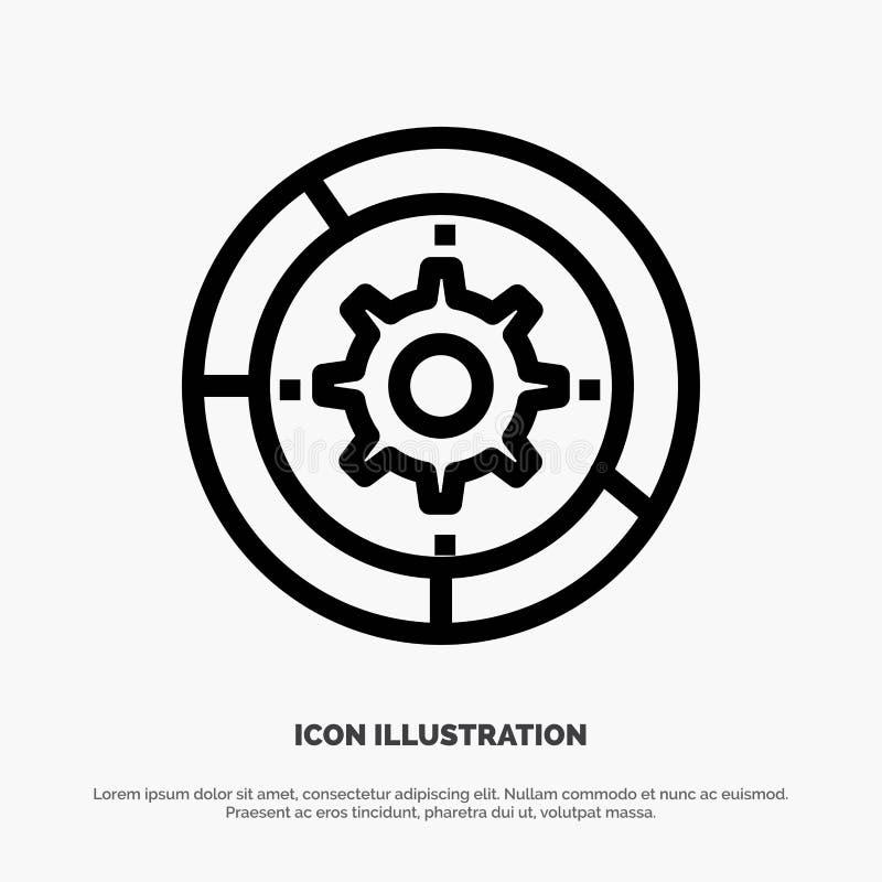 Toestel, Montages, Opstelling, Motor, het Pictogramvector van de Proceslijn royalty-vrije illustratie