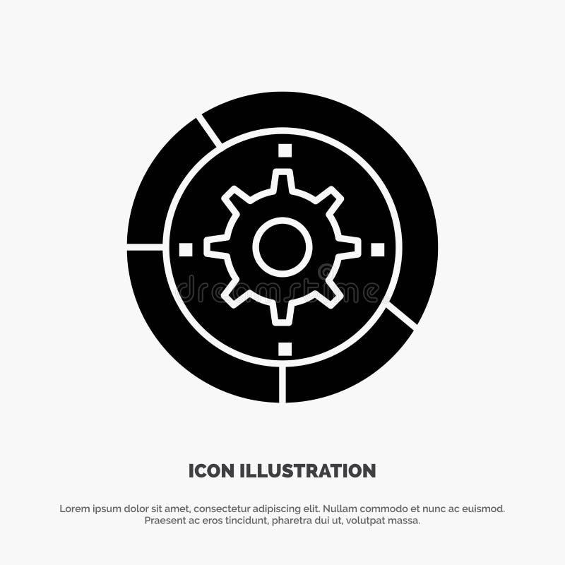 Toestel, Montages, Opstelling, Motor, het Pictogramvector van Proces stevige Glyph royalty-vrije illustratie