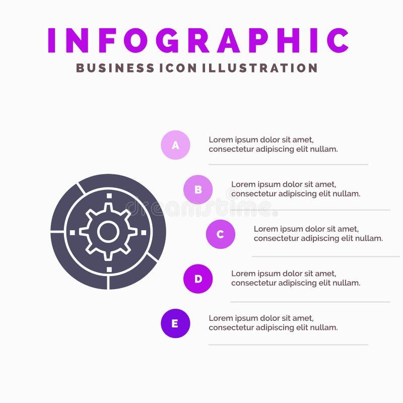 Toestel, Montages, Opstelling, Motor, Proces Stevig Pictogram Infographics 5 de Achtergrond van de Stappenpresentatie stock illustratie