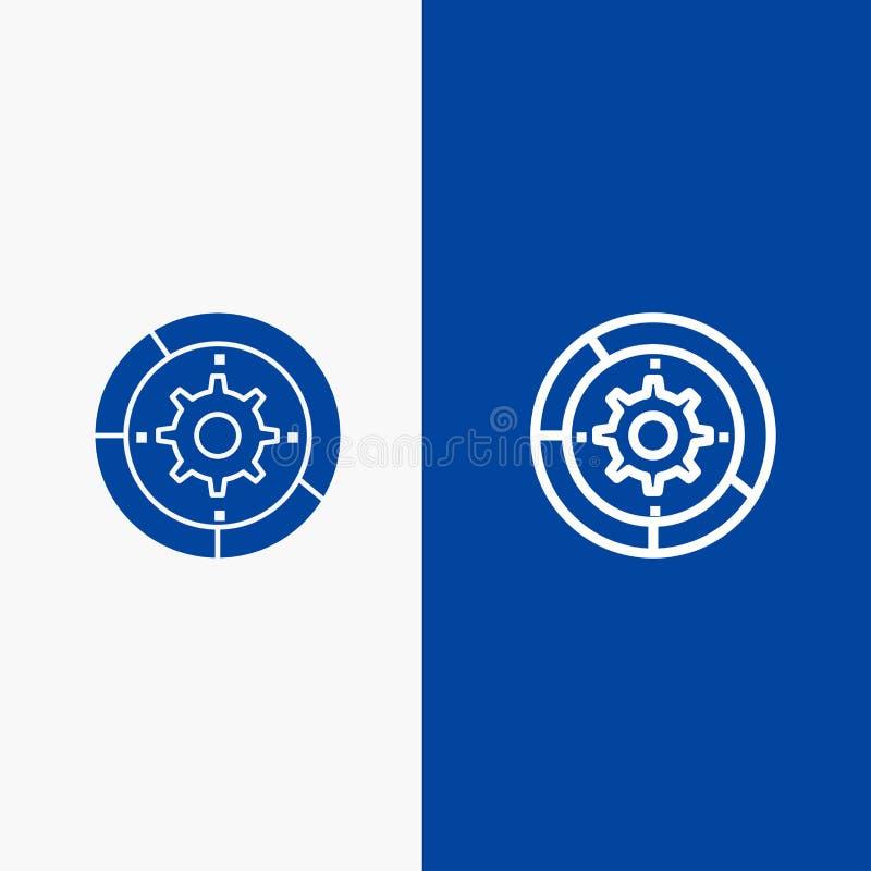 Toestel, Montages, Opstelling, Motor, Proceslijn en Lijn van de het pictogram Blauwe banner van Glyph de Stevige en Stevige het p vector illustratie
