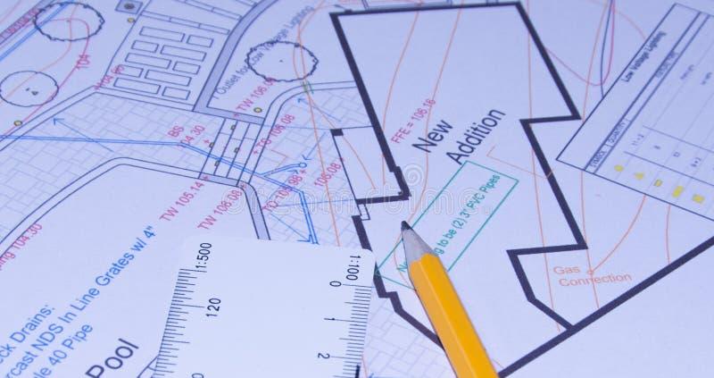 Toestel, schakelnet, potlood en ontwerp stock illustratie