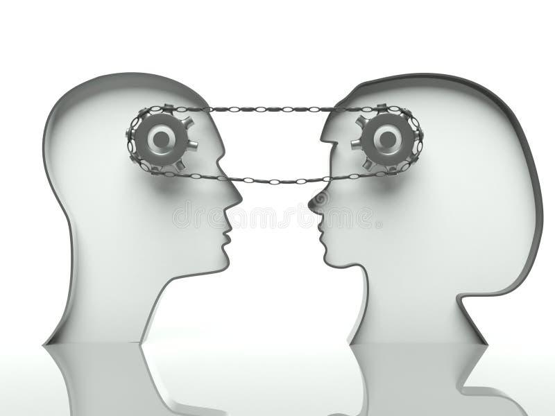 Toestellen en ketting in hoofden, concept mededeling stock illustratie