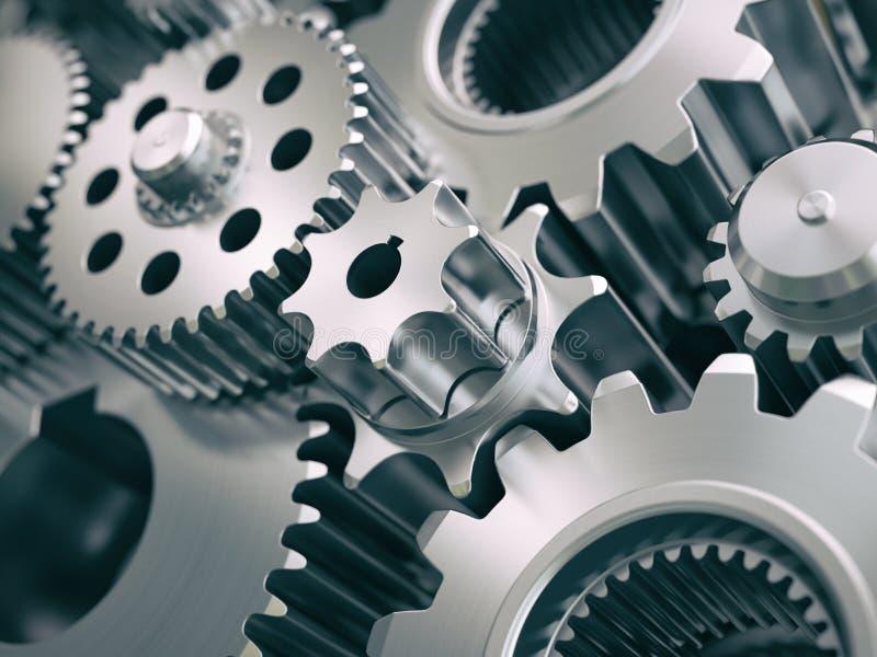 Toestellen en tandraderenmotor industriële achtergrond vector illustratie