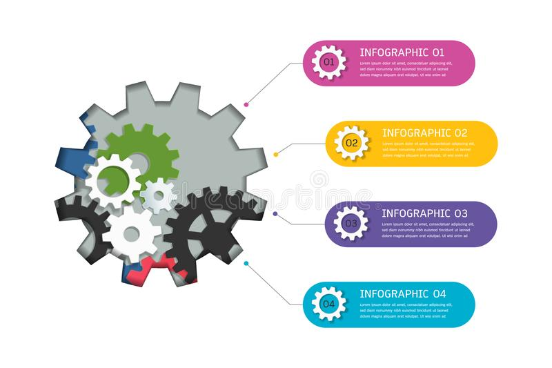 Toestellen infographic malplaatje voor bedrijfspresentatie, Strategisch plan om bedrijfwaarden te bepalen royalty-vrije illustratie