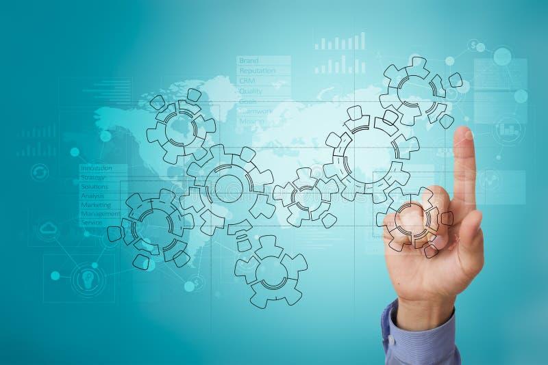 Toestellen, mechanismeontwerp op het virtuele scherm CAD systemen Bedrijfs, industriële en technologieconcept royalty-vrije stock afbeeldingen