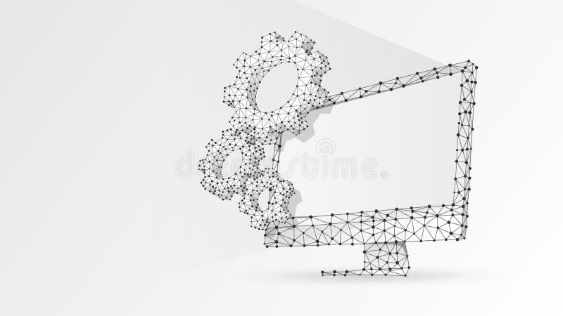 Toestellen op computermonitor Industrie, bedrijfsoplossing, technologie, montagesconcept Laag digitale samenvatting, wireframe, vector illustratie