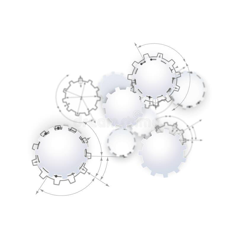 Toestellen in overeenkomst Techniek die abstracte industriële achtergrond met trekken tandraderen vector illustratie