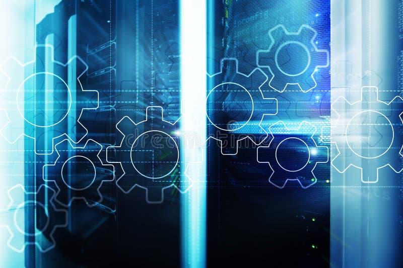 Toestellenmechanisme, digitale transformatie, gegevensintegratie en digitaal technologieconcept royalty-vrije illustratie