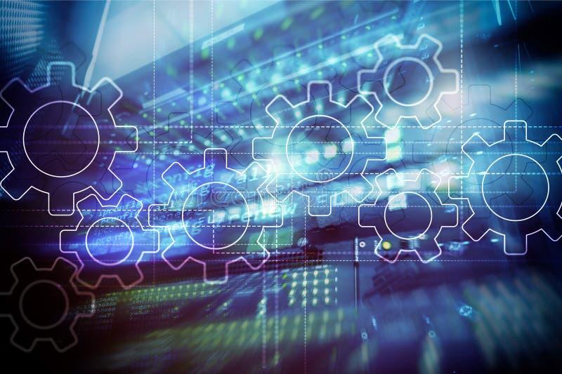 Toestellenmechanisme, digitale transformatie, gegevensintegratie en digitaal technologieconcept stock afbeeldingen