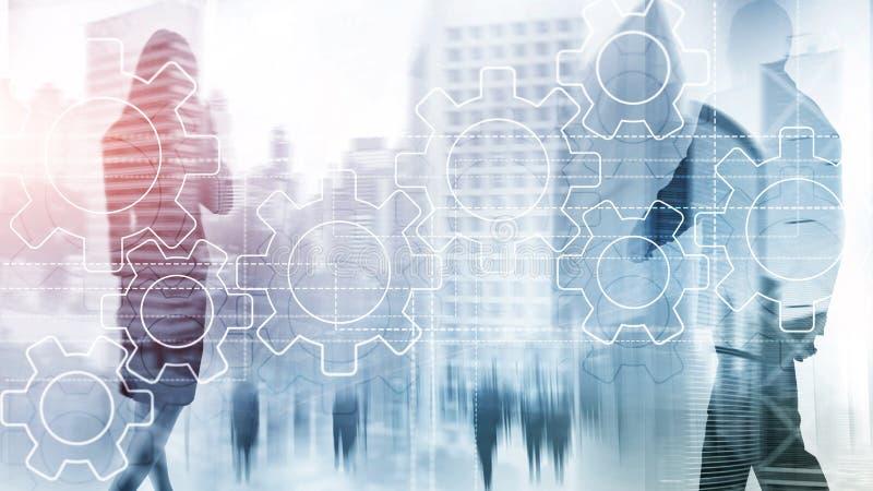 Toestellenmechanisme, digitale transformatie, gegevensintegratie en digitaal technologieconcept stock illustratie