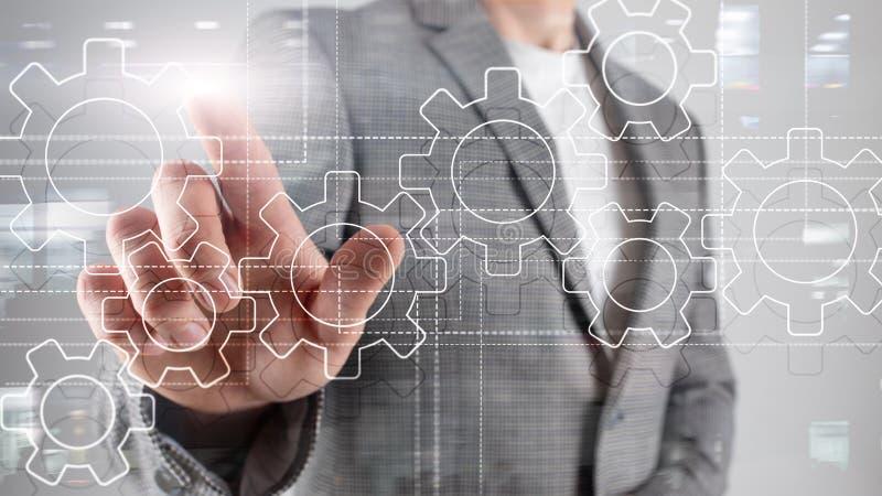 Toestellenmechanisme, digitale transformatie, gegevensintegratie en digitaal technologieconcept royalty-vrije stock afbeeldingen