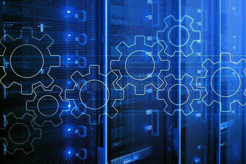 Toestellenmechanisme, digitale transformatie, gegevensintegratie en digitaal technologieconcept vector illustratie