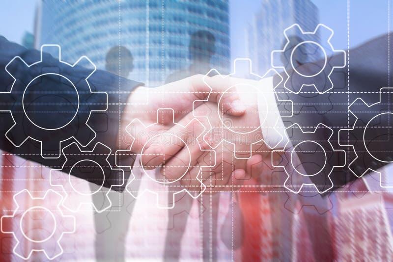 Toestellenmechanisme, digitale transformatie, gegevensintegratie en digitaal technologieconcept stock afbeelding