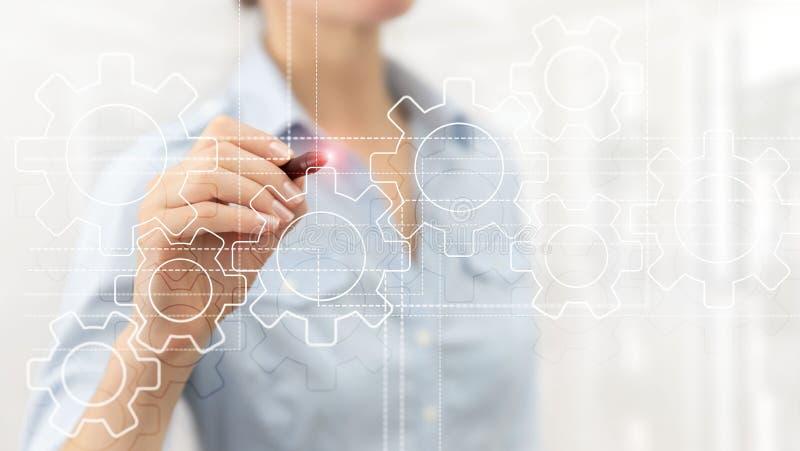 Toestellenmechanisme, digitale transformatie, gegevensintegratie en digitaal technologieconcept royalty-vrije stock afbeelding