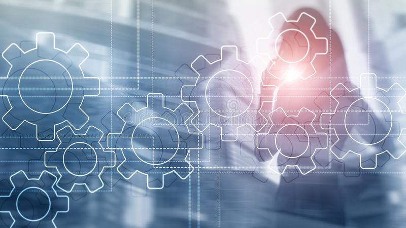 Toestellenmechanisme, digitale transformatie, gegevensintegratie en digitaal technologieconcept royalty-vrije stock foto