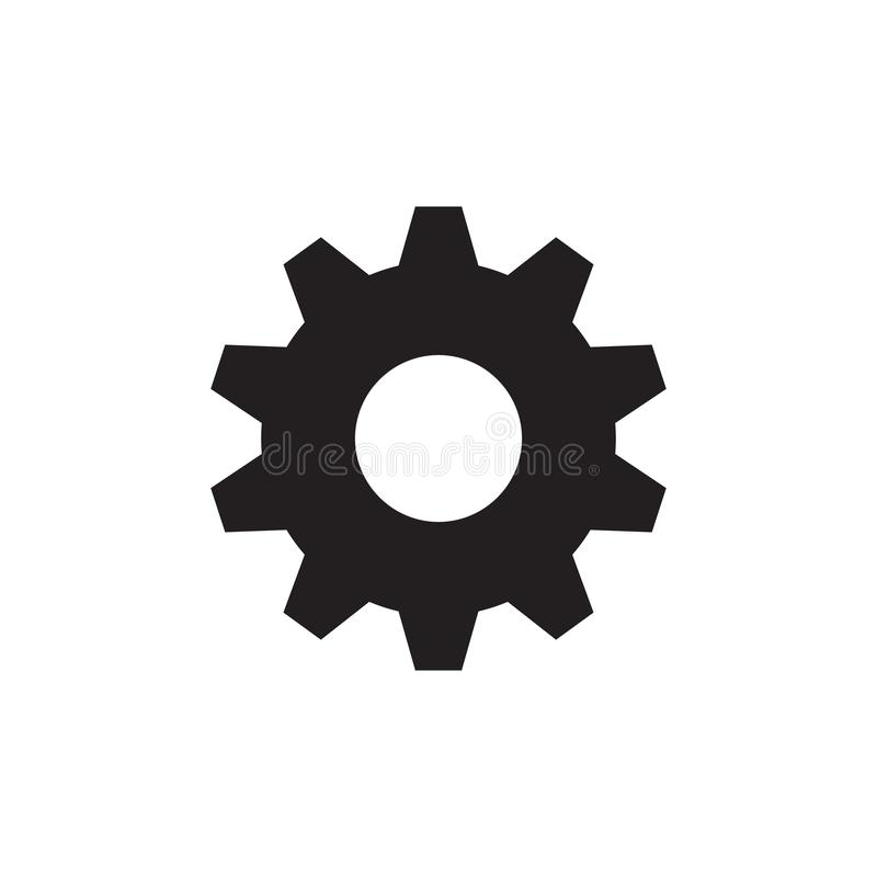 Toesteltandrad - zwart pictogram op witte vectorillustratie als achtergrond voor website, mobiele toepassing, infographic present royalty-vrije illustratie