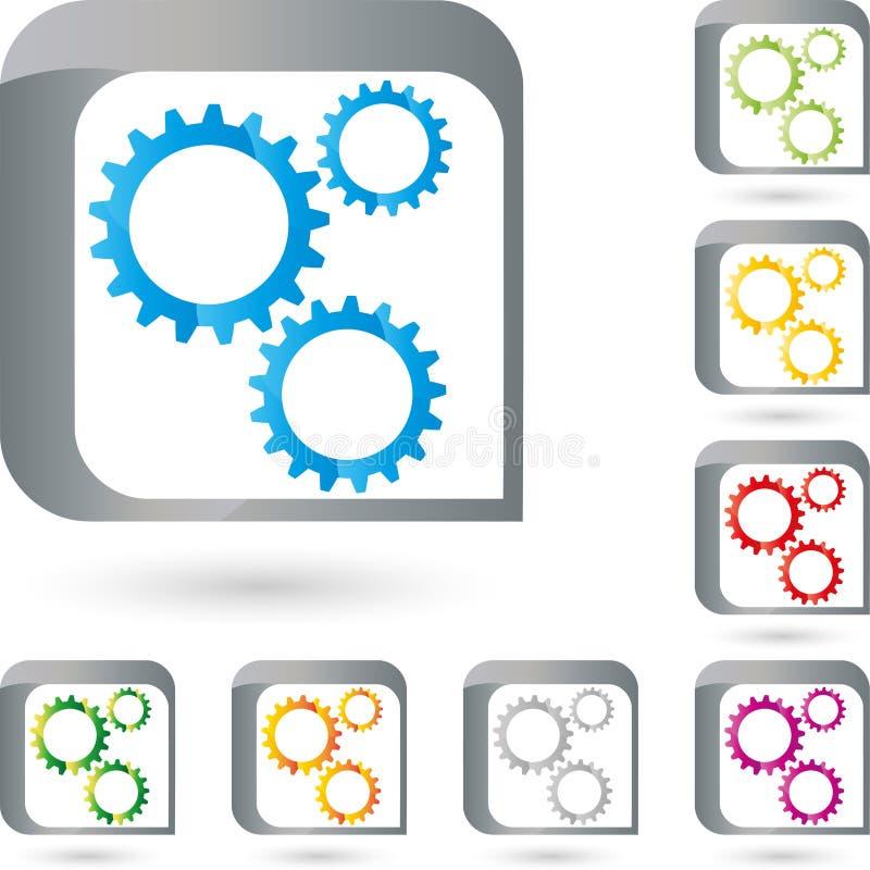 Toestelwielen, slotenmaker en industrieel embleem vector illustratie