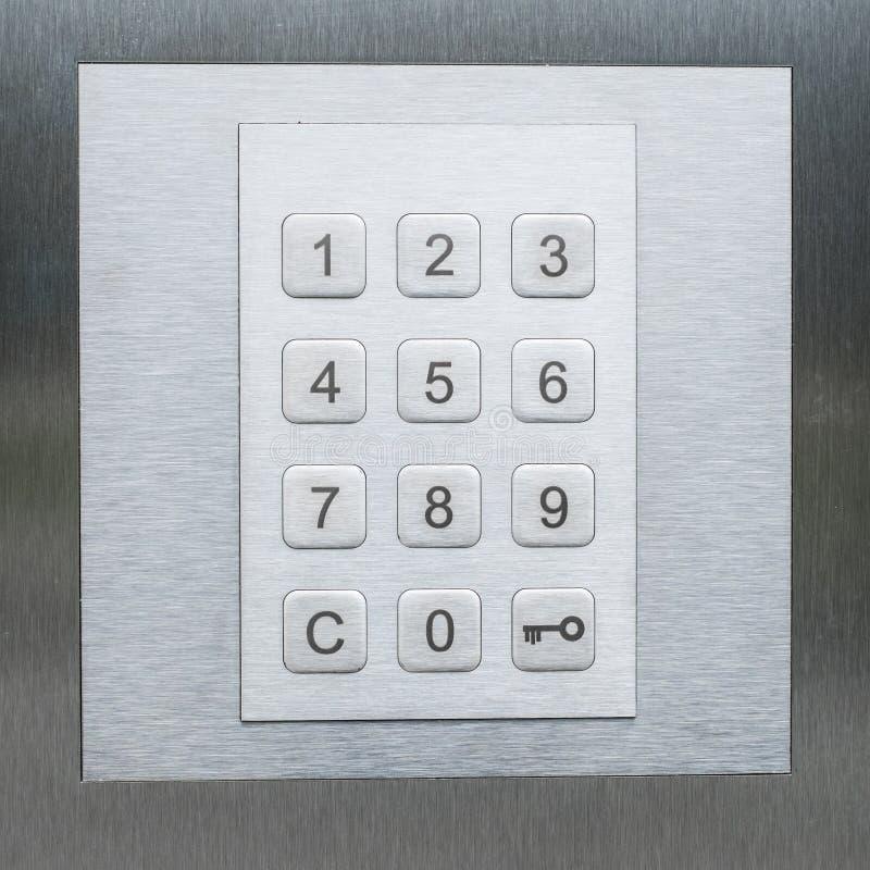Toetsenbord, aantallen en zeer belangrijke smbol - deurveiligheidssysteem stock fotografie