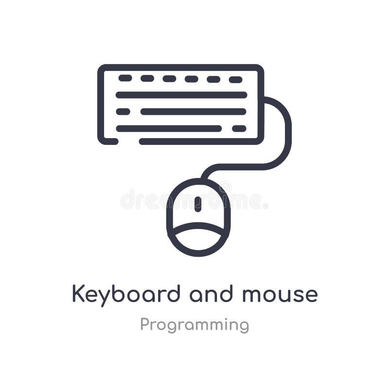 toetsenbord en muisoverzichtspictogram ge?soleerde lijn vectorillustratie van de programmering van inzameling editable dun slagto vector illustratie
