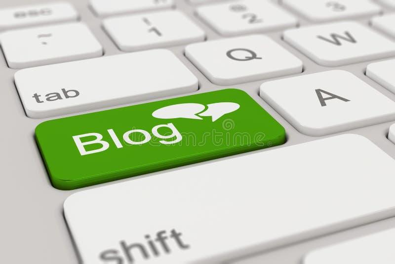 Toetsenbord - groene Blog - stock illustratie