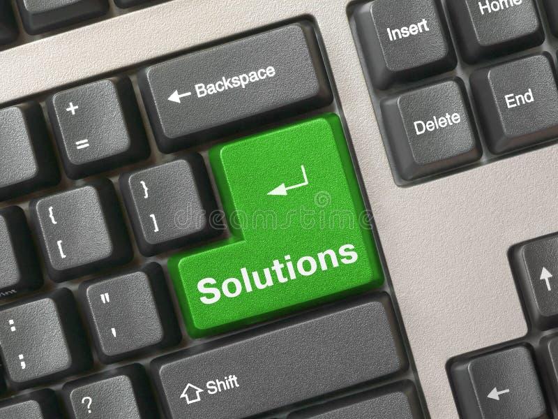 Toetsenbord - groene zeer belangrijke Oplossingen stock afbeeldingen