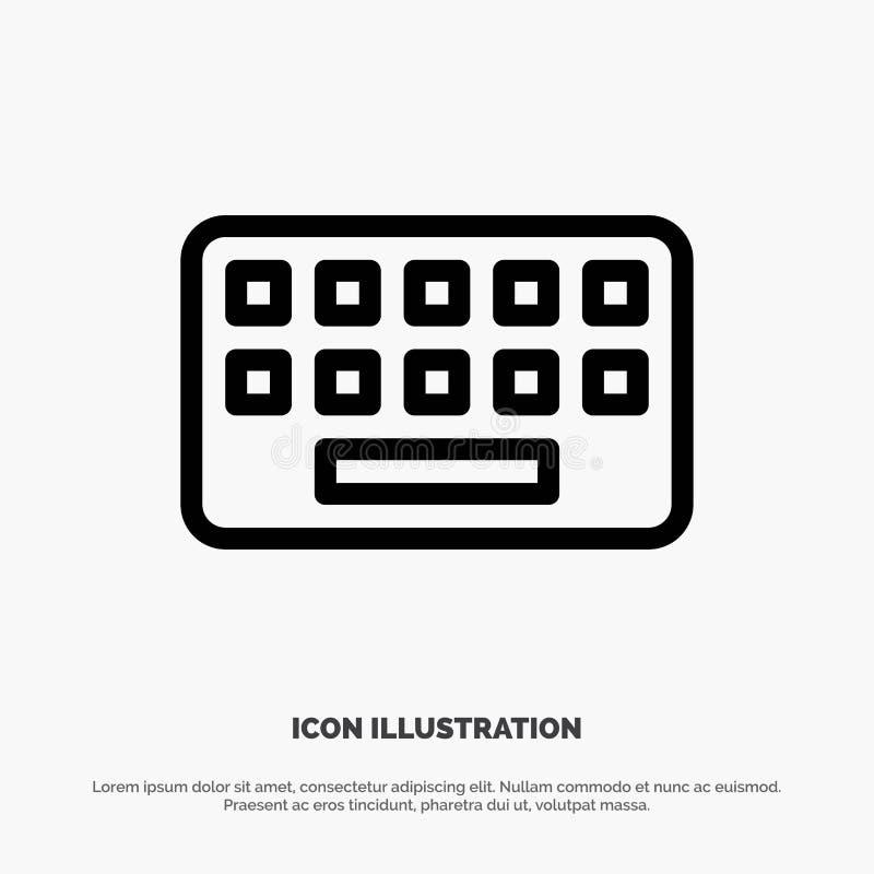 Toetsenbord, het Typen, Raad, de Zeer belangrijke Vector van het Lijnpictogram vector illustratie