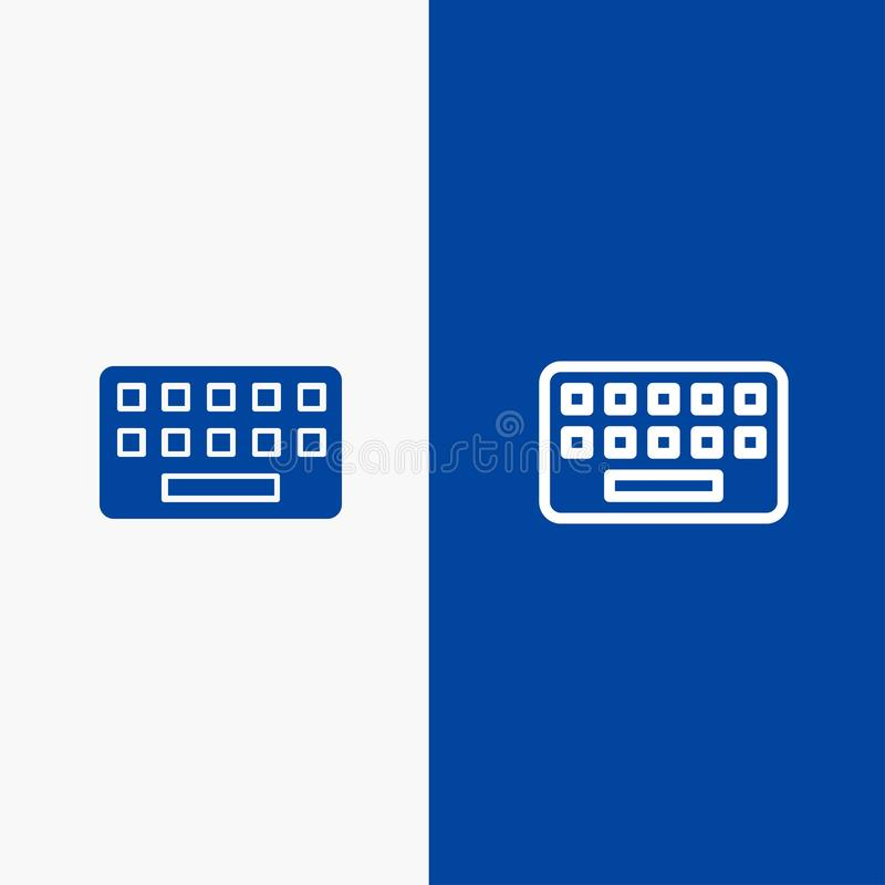 Toetsenbord, het Typen, Raad, Zeer belangrijke Lijn en Lijn van de het pictogram Blauwe banner van Glyph de Stevige en Stevige he stock illustratie