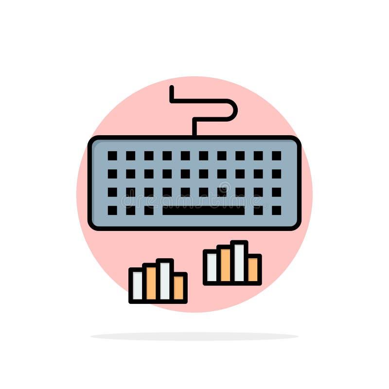 Toetsenbord, Interface, Type, het Typen Abstract Cirkel Achtergrond Vlak kleurenpictogram vector illustratie