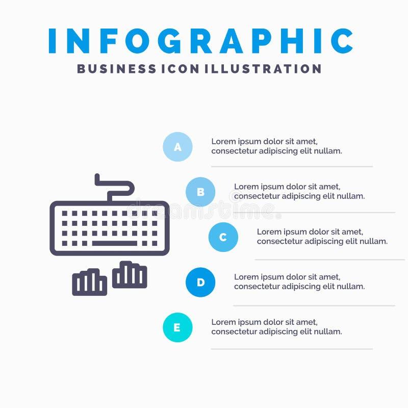 Toetsenbord, Interface, Type, het Typen Blauw Infographics Malplaatje 5 Stappen Het vectormalplaatje van het lijnpictogram royalty-vrije illustratie