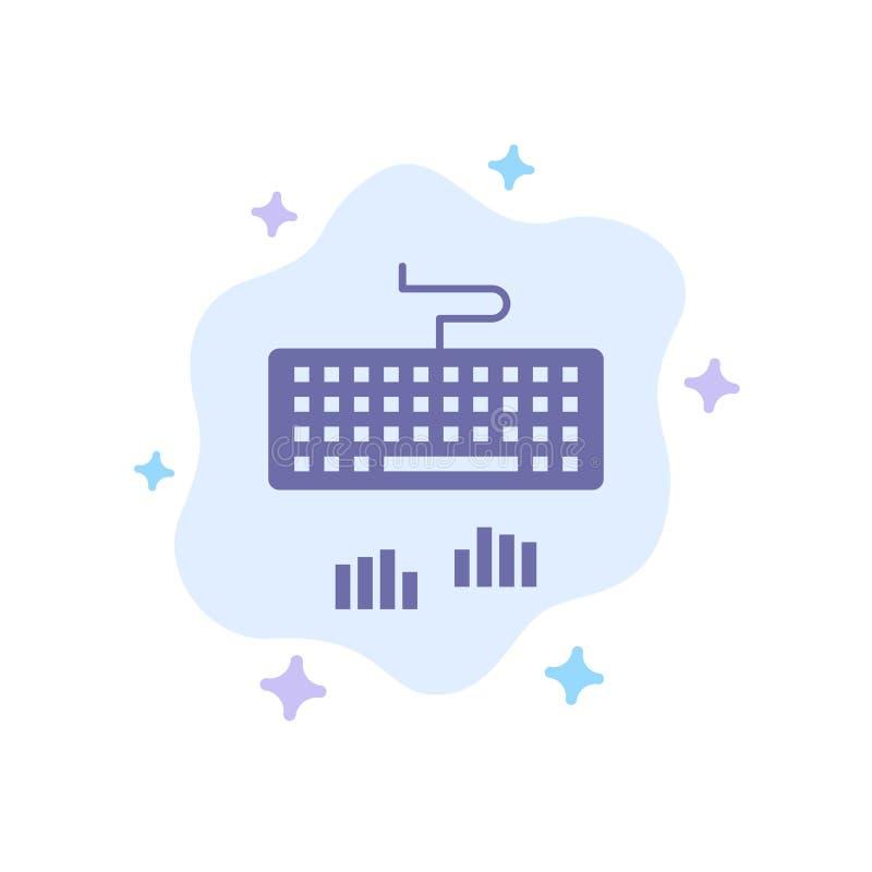 Toetsenbord, Interface, Type, het Typen Blauw Pictogram op Abstracte Wolkenachtergrond royalty-vrije illustratie