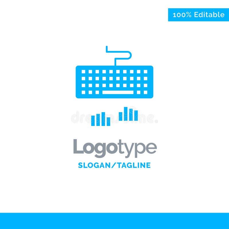 Toetsenbord, Interface, Type, het Typen Blauwe Zaken Logo Template vector illustratie