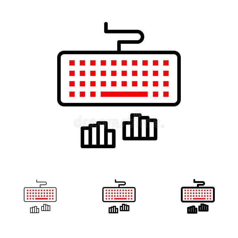 Toetsenbord, Interface, Type, het Typen de Gewaagde en dunne zwarte reeks van het lijnpictogram vector illustratie