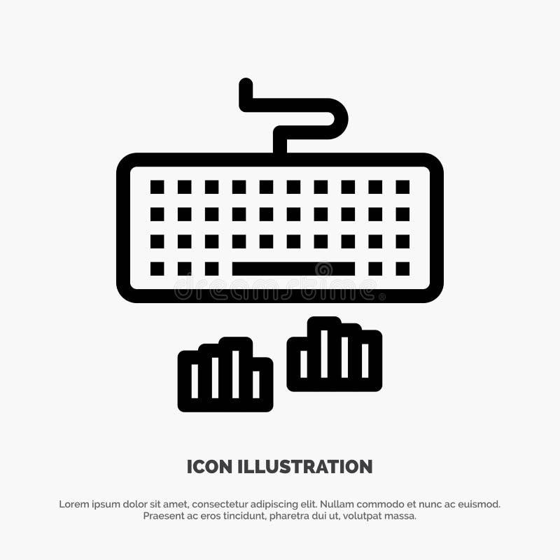 Toetsenbord, Interface, Type, het Typen Vectorlijnpictogram royalty-vrije illustratie