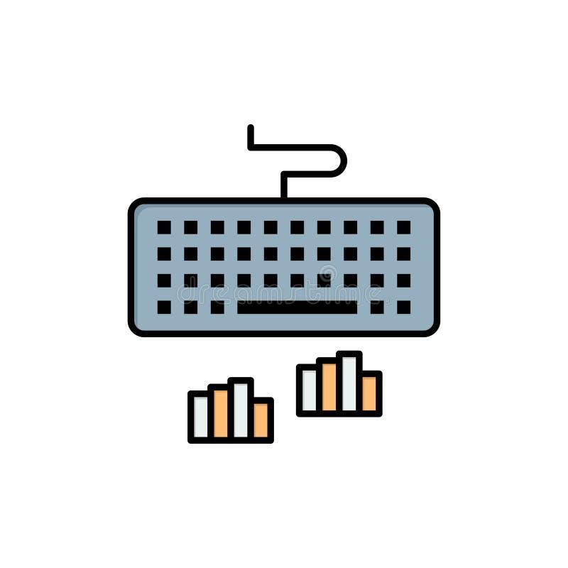 Toetsenbord, Interface, Type, het Typen Vlak Kleurenpictogram Het vectormalplaatje van de pictogrambanner vector illustratie