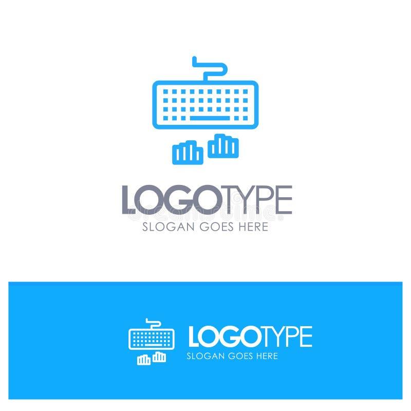 Toetsenbord, Interface, Type, Typend Blauw Logo Line Style vector illustratie
