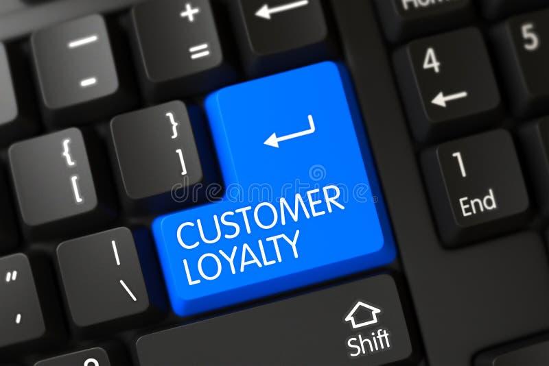Toetsenbord met Blauwe Sleutel - Klantenloyaliteit 3d stock foto