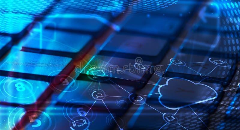 Toetsenbord met de gloeiende pictogrammen van de wolkentechnologie royalty-vrije stock fotografie