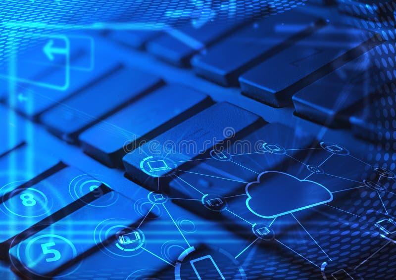 Toetsenbord met de gloeiende pictogrammen van de wolkentechnologie stock fotografie