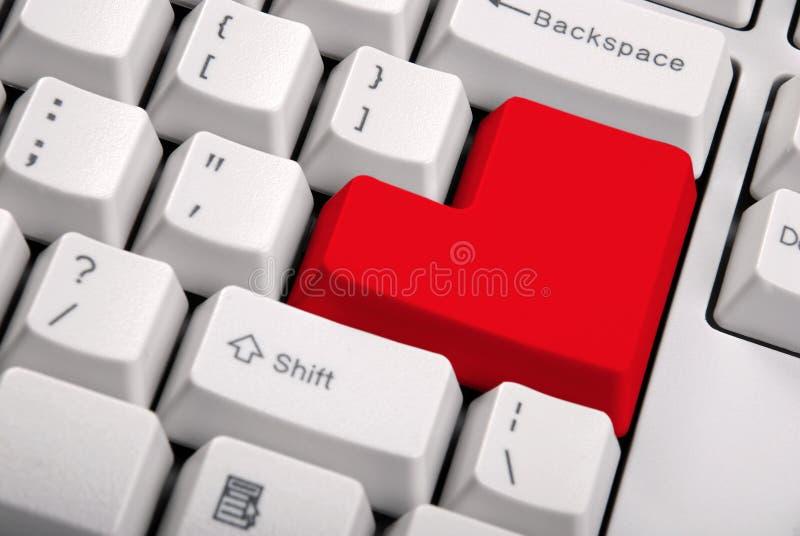 Toetsenbord met een grote rode knoop royalty-vrije stock afbeeldingen