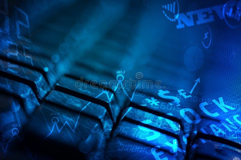 Toetsenbord met gloeiende bedrijfspictogrammen royalty-vrije stock afbeelding