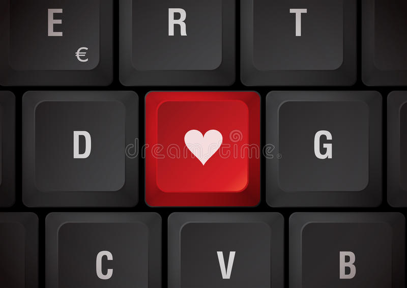 Toetsenbord met hart stock illustratie