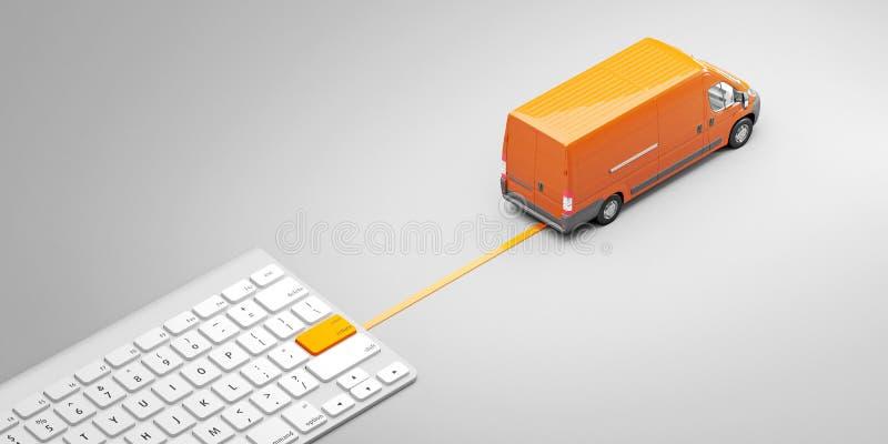 Toetsenbord met leveringsknoop en postbestelwagen Aankoop van goederen in één enkele klik Concept 3D Illustratie stock illustratie