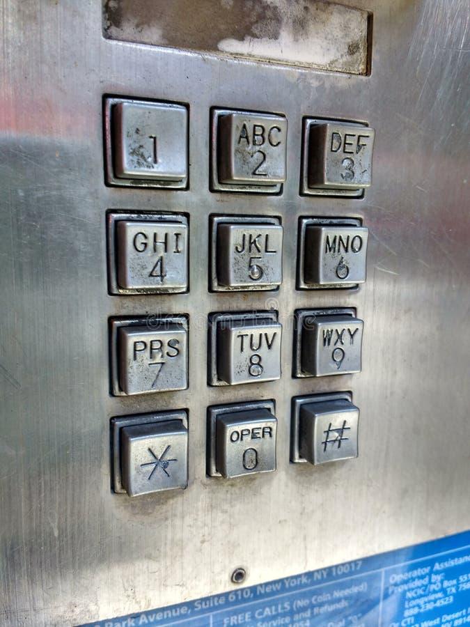 Toetsenbord, Publieke telefooncel, Payphone, Openbare Telefoon, NYC, NY, de V.S. stock afbeelding