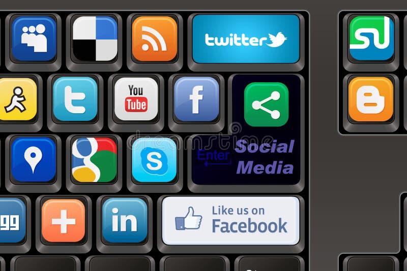 Toetsenbord Sociale media royalty-vrije illustratie