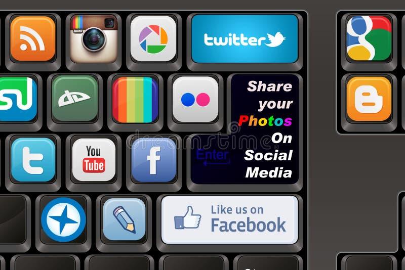 Toetsenbord Sociale media vector illustratie