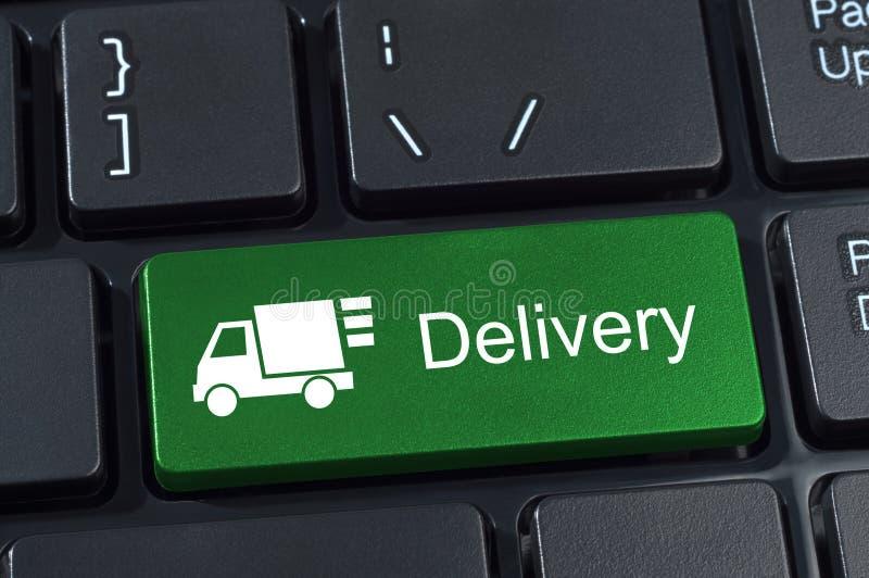 Toetsenbordknoop met van de vrachtwagenpictogram en tekst levering. royalty-vrije illustratie