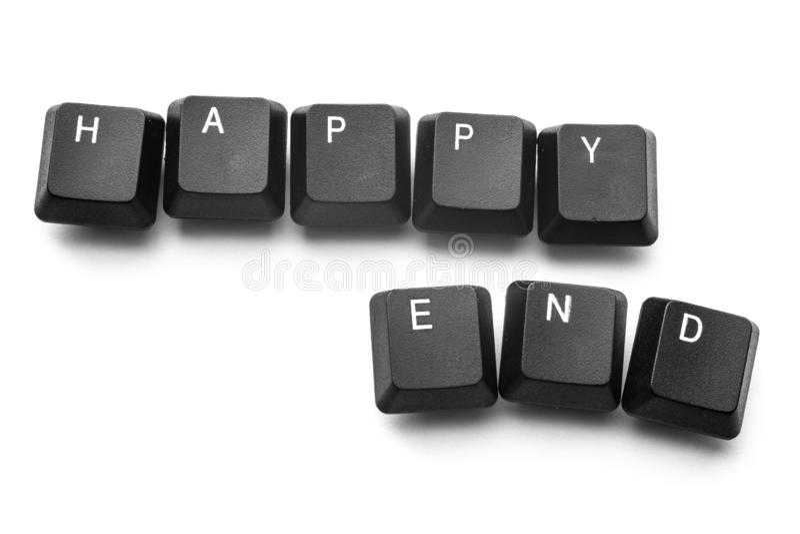 Toetsenbordknopen om het 'gelukkige eind 'te schrijven Isoleer op witte achtergrond royalty-vrije stock foto's
