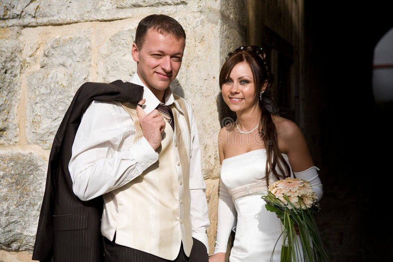 Toevallig bruids paar stock afbeelding